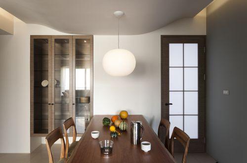 素洁明亮现代风格餐厅灯具装修实景图