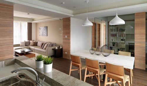 温润舒适现代风格餐厅白色餐桌装修设计