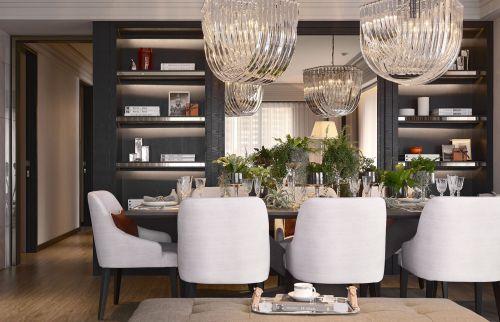 轻奢创意现代风格餐厅灯具装修实景图