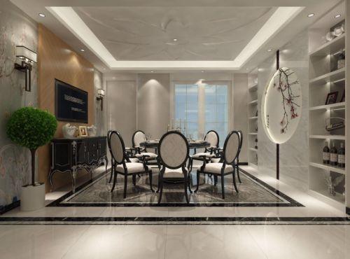 现代简约四居室餐厅餐桌装修效果图