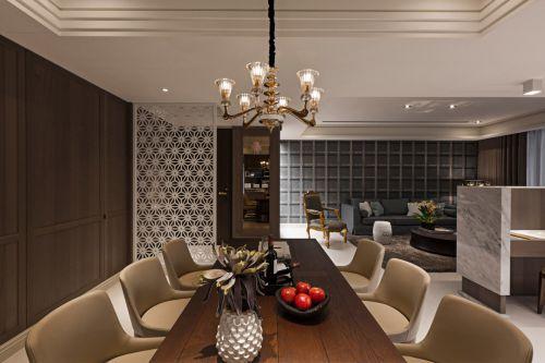 淡雅现代风格餐厅灯具装修实景图
