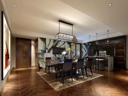 四居室现代简约灰色别致餐厅灯具效果图