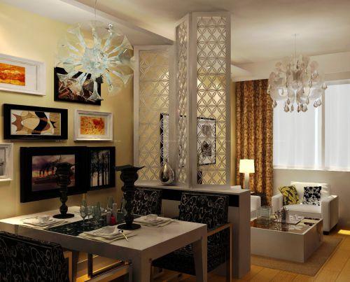 现代风格70平两室餐厅可折叠屏风效果图