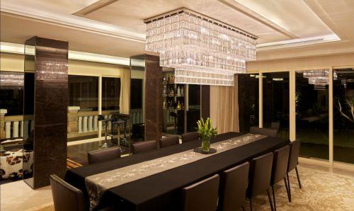 五居室现代简约精致咖啡色餐厅灯具效果图