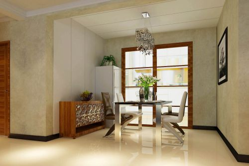 三居室现代风格灰色时尚餐厅吊灯灯具效果图