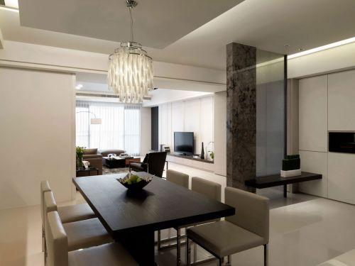 三居室现代简约白色餐厅水晶灯灯具效果图