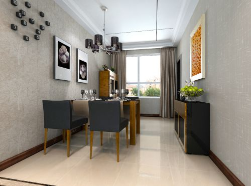 三居室现代风格咖啡色餐厅吊灯灯具效果图