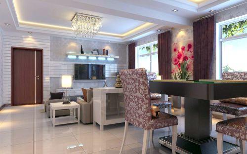 现代简约二居室餐厅窗帘装修效果图大全