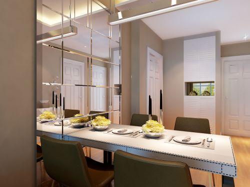 现代简约三居室餐厅窗帘装修效果图大全