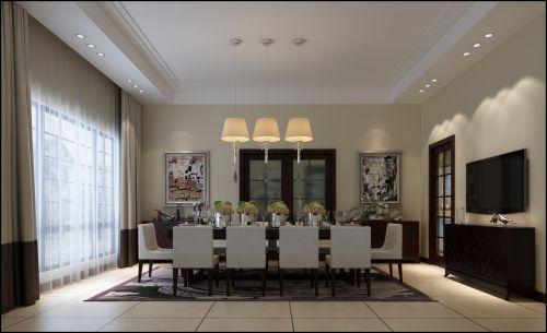 现代简约别墅餐厅窗帘装修效果图大全