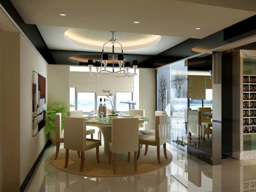 现代简约三居室餐厅吊顶装修效果图