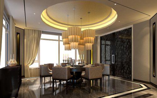 现代简约别墅餐厅窗帘装修图片