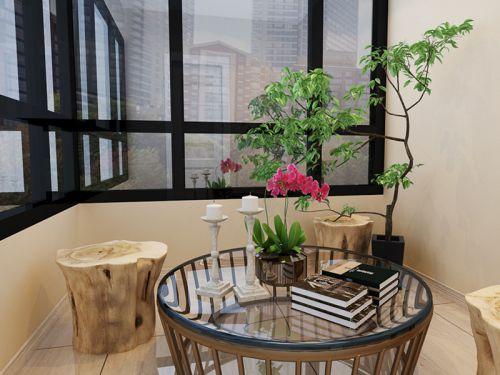 现代简约二居室阳台瓷砖装修效果图大全