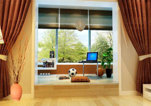 现代简约三居室阳台窗帘装修图片