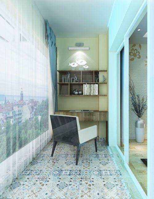 现代简约二居室阳台灯具装修图片
