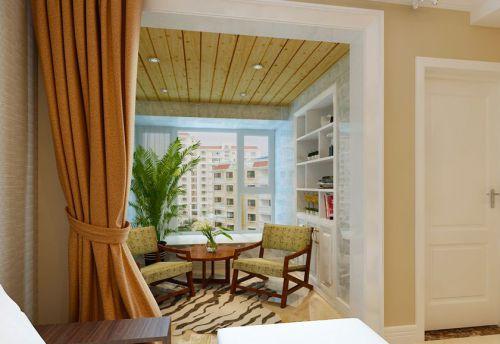 现代简约三居室阳台窗帘装修效果图