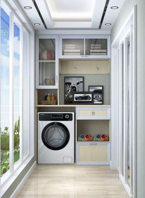 优良现代收纳阳台洗衣机装修效果图
