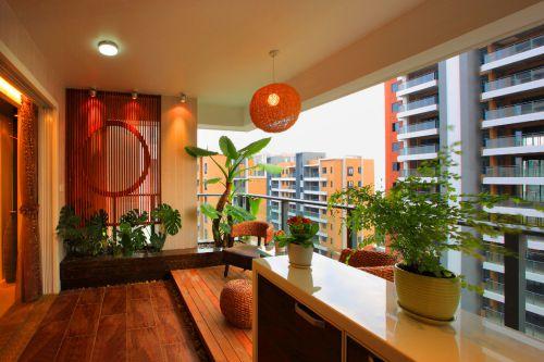现代简约风格橙色阳台灯具装修效果图