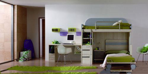 三室现代简约儿童房原木色床效果图
