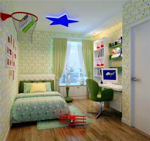 现代简约三居室儿童房飘窗装修图片