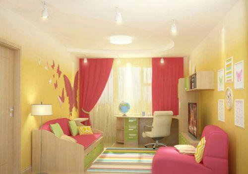 现代唯美儿童房间黄色背景墙设计图