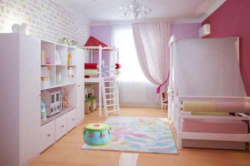 现代简约粉色游乐儿童房装修效果图