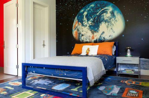 梦幻现代风格儿童房背景墙装修效果图