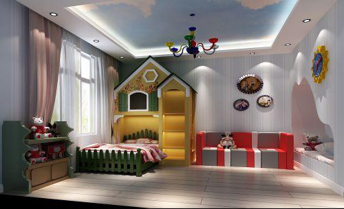 现代简约四居室儿童房窗帘装修效果图大全