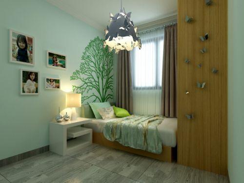 现代简约三居室儿童房照片墙装修效果图