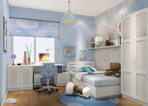 现代简约淡蓝色二居室儿童房衣柜装修效果图