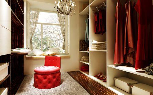 现代前卫二居室衣帽间鞋柜装修图片