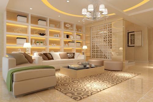 现代简约三居室衣帽间影视墙装修效果图欣赏