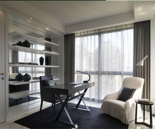 現代簡約二居室書房飄窗裝修效果圖