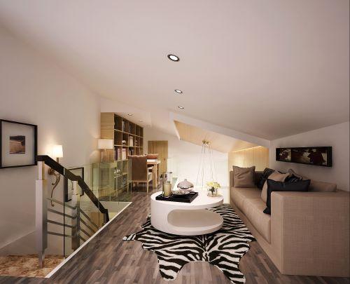 现代简约三居室书房背景墙装修效果图