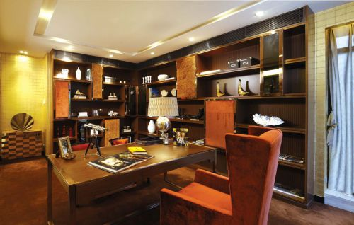 咖啡色时尚大气现代风格书房装修效果图