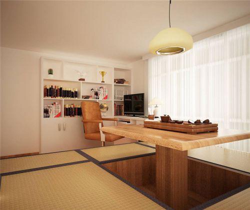 现代简约风格书房原木色榻榻米装修图片