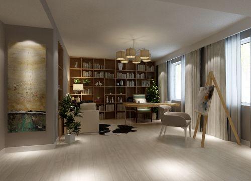 现代简约三居室书房背景墙装修图片