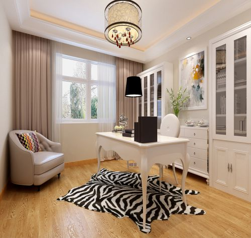 现代简约三居室书房楼梯装修效果图欣赏