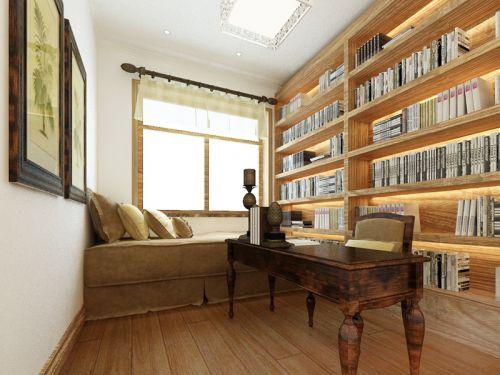 现代简约四居室书房书架装修效果图