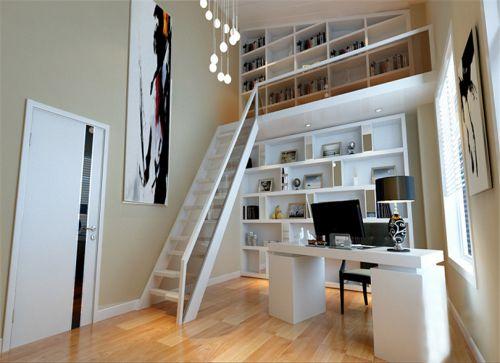 现代简约五居室书房书架装修图片