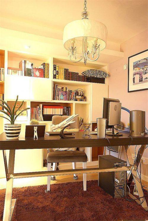 现代简约一居室书房书架装修效果图大全