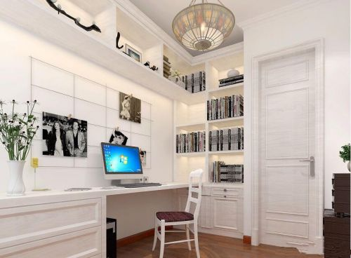 现代简约二居室书房背景墙装修效果图欣赏
