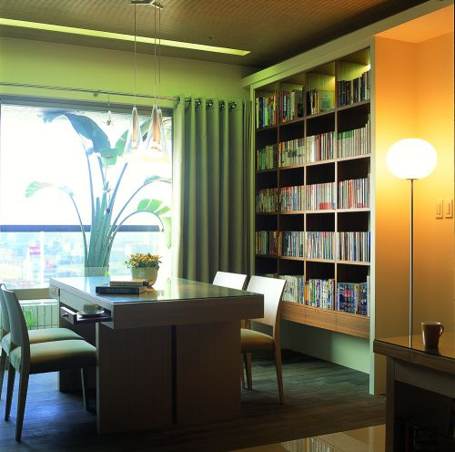 现代简约三居室书房书架装修效果图大全