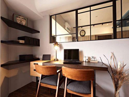现代简约三居室书房书架装修图片