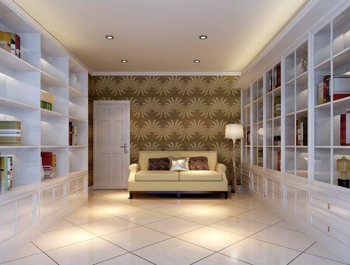 现代简约三居室书房储物柜装修效果图大全