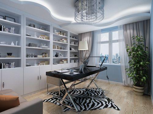 现代简约四居室书房书架装修效果图大全