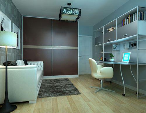 现代简约二居室书房背景墙装修图片
