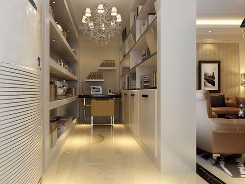 现代简约二居室书房书架装修图片