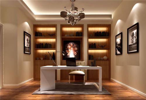 现代简约三居室书房书柜装修效果图大全