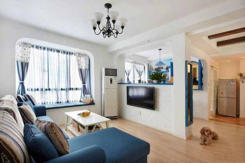 浪漫地中海蓝色客厅装修效果图片